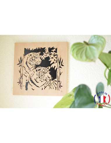 wooden painting chantournés - table couple tiger