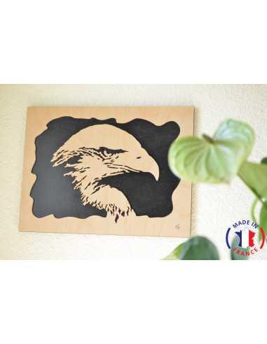 wooden painting chantournés - eagle's head painting