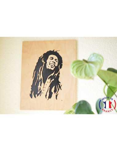 Tableau Bob Marley chantourné.