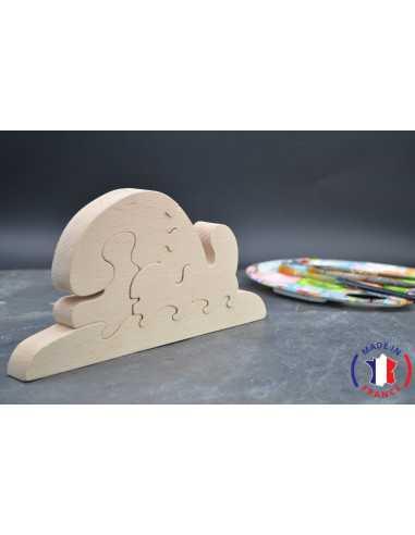 Puzzle baleine à peindre en bois