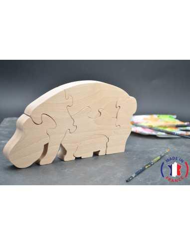 puzzle en bois - puzzle hippopotame