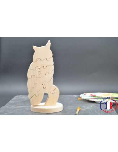 Puzzle en bois hibou à peindre