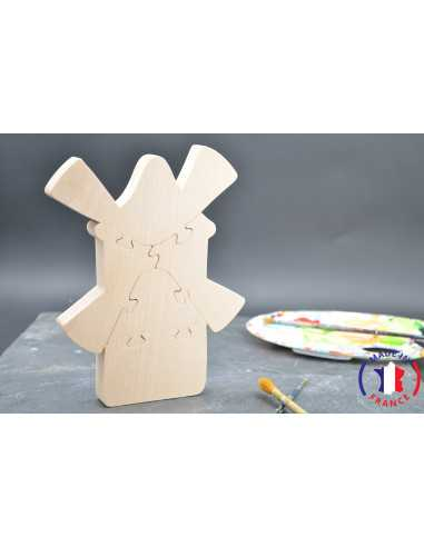 Puzzle moulin en bois brut à peindre