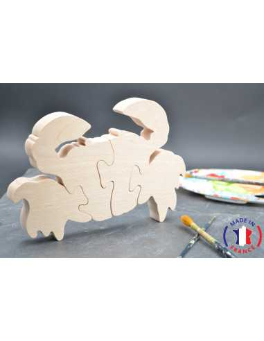Puzzle crabe en bois brut à peindre