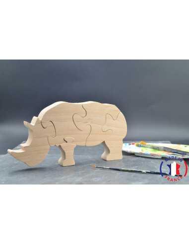 Puzzle en bois rhinocéros à peindre