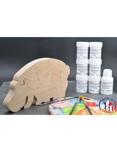 Pack Kit peintures + Puzzle hippopotame