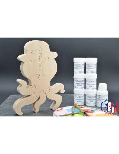 Pack Kit peintures + Puzzle pieuvre