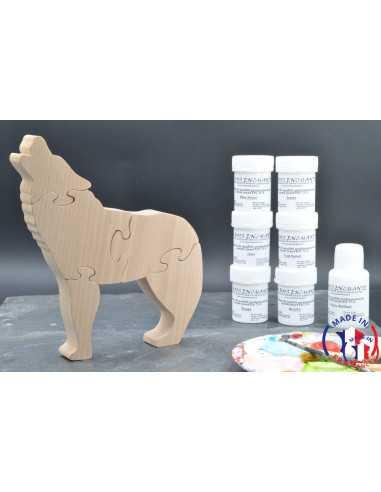 Pack Kit peintures + Puzzle loup