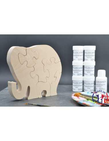 Pack Kit peintures + Puzzle éléphant
