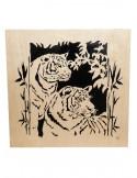 tableau en bois chantournés - tableau couple tigre