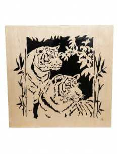 chanted wooden painting - tiger couple painting
