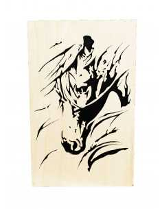 chanted wooden painting - horse head