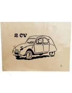 tableau en bois chantournés - tableau 2CV