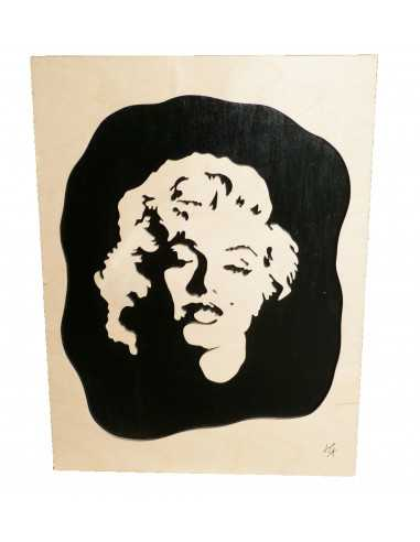 tableau en bois chantournés - tableau marilyn monroe