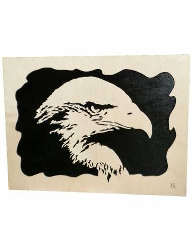 chanted wooden painting - eagle head painting